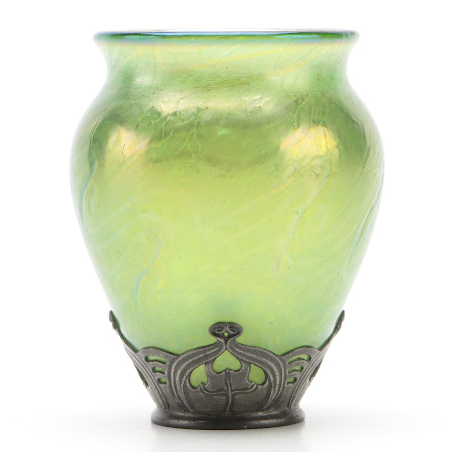 Continental Pewter Mounted Art Glass Vase, Late 19th/Early 20th Century