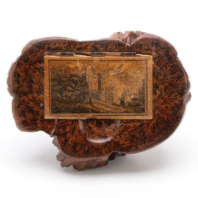 Victorian Elm Burr and Penwork Decorated Snuff Box, 19th Century