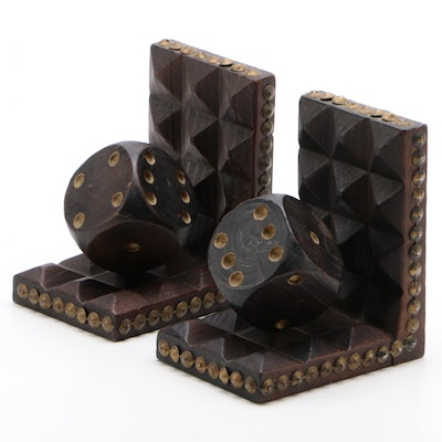 Tramp Art Carved Wood Dice Bookends with Metal Nailhead Trim, 20th Century