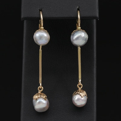 18K Yellow Gold Semi-Baroque Cultured Pearl Dangle Earrings