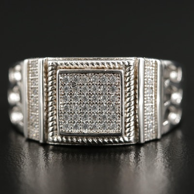Sterling Silver Pavé Cubic Zirconia Square Ring