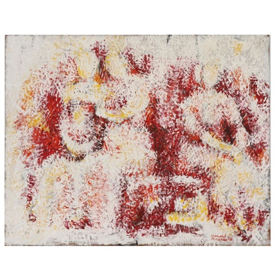 Leonard Maurer Abstract Figural Oil Painting, 1958