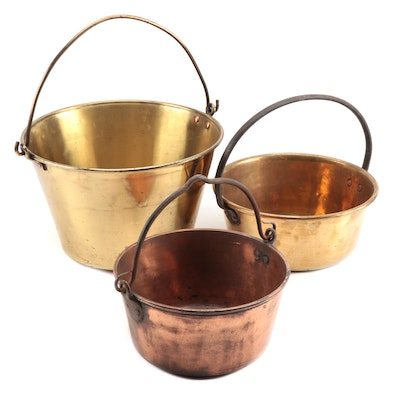 Hand-Forged Brass, Copper, and Cast Iron Fireplace Cooking Pot, Mid-19th Ca.