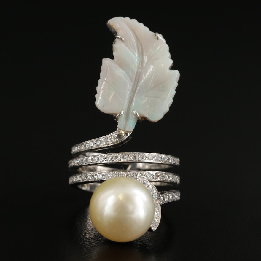 14K Gold Opal, Pearl and Diamond Coil Ring