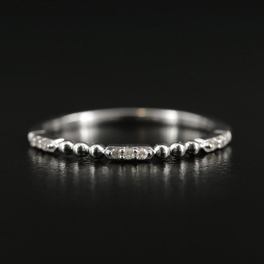 10K White Gold Diamond Beaded Band