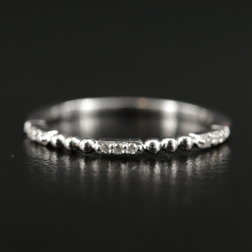 10K White Gold Diamond Beaded Band