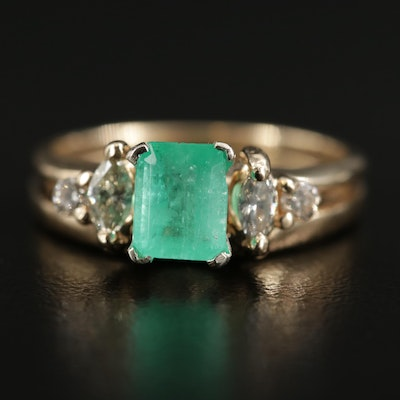 14K Yellow Gold Emerald Solitaire and Diamond Shadow Band