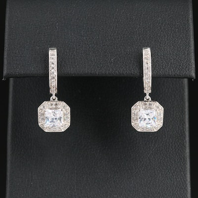 18K White Gold Cubic Zirconia Huggie Earrings with Drop