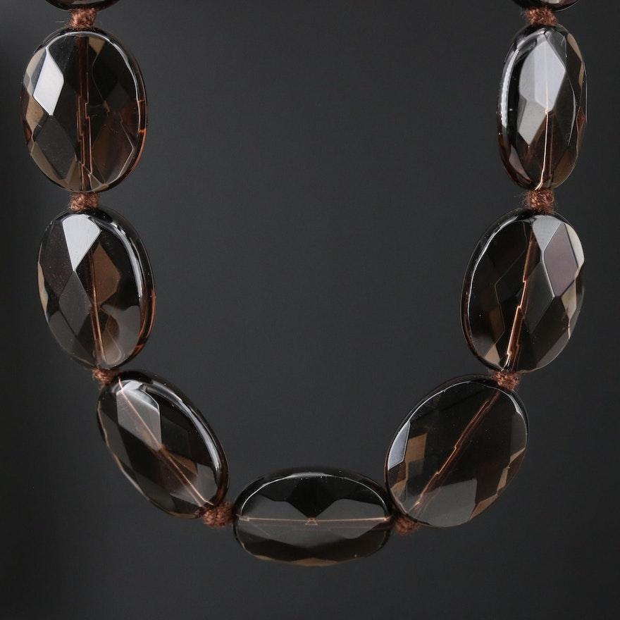 Smoky Quartz Necklace with 14K Gold Clasp