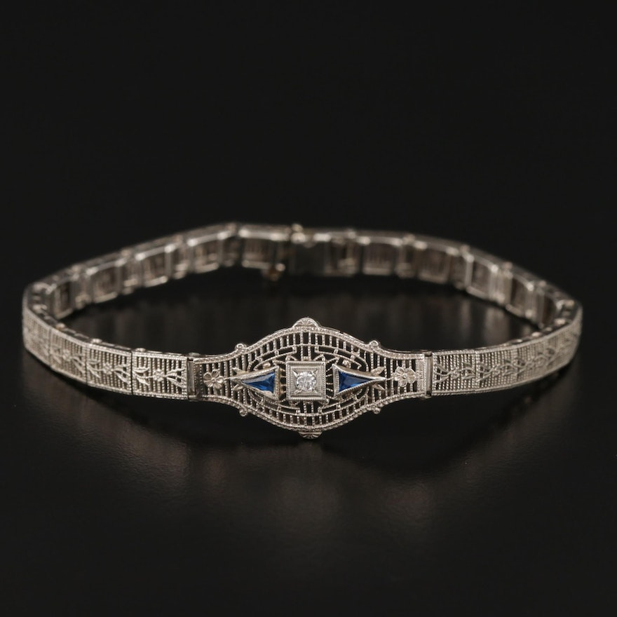 Art Deco 14K Gold Diamond and Synthetic Spinel Bracelet with Filigree Design