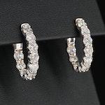 14K White Gold 3.12 CTW Diamond Inside Out Hoop Earrings