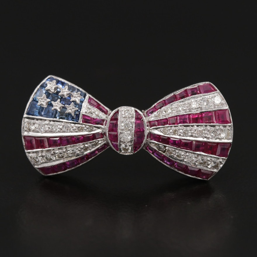 14K American Themed Diamond, Ruby and Sapphire Bow Brooch