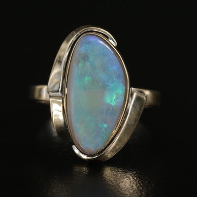 14K Yellow Gold Freeform Opal Cabochon Ring