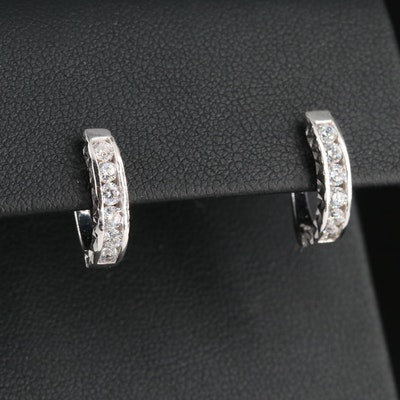 18K Channel Set Cubic Zirconia Huggie Earrings with Faceted Accents