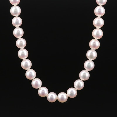 Mikimoto Single Strand Pearl Necklace with 18K Gold Clasp