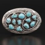 Effie Calavaza Zuni Sterling Turquoise Belt Buckle