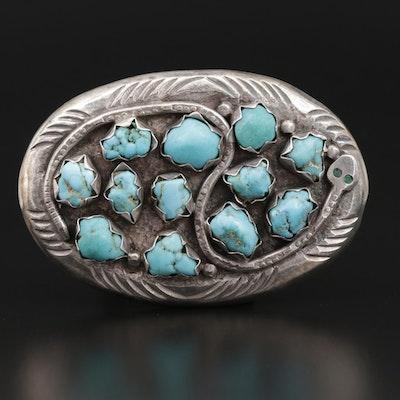 Effie Calavaza Zuni Sterling Turquoise Belt Buckle