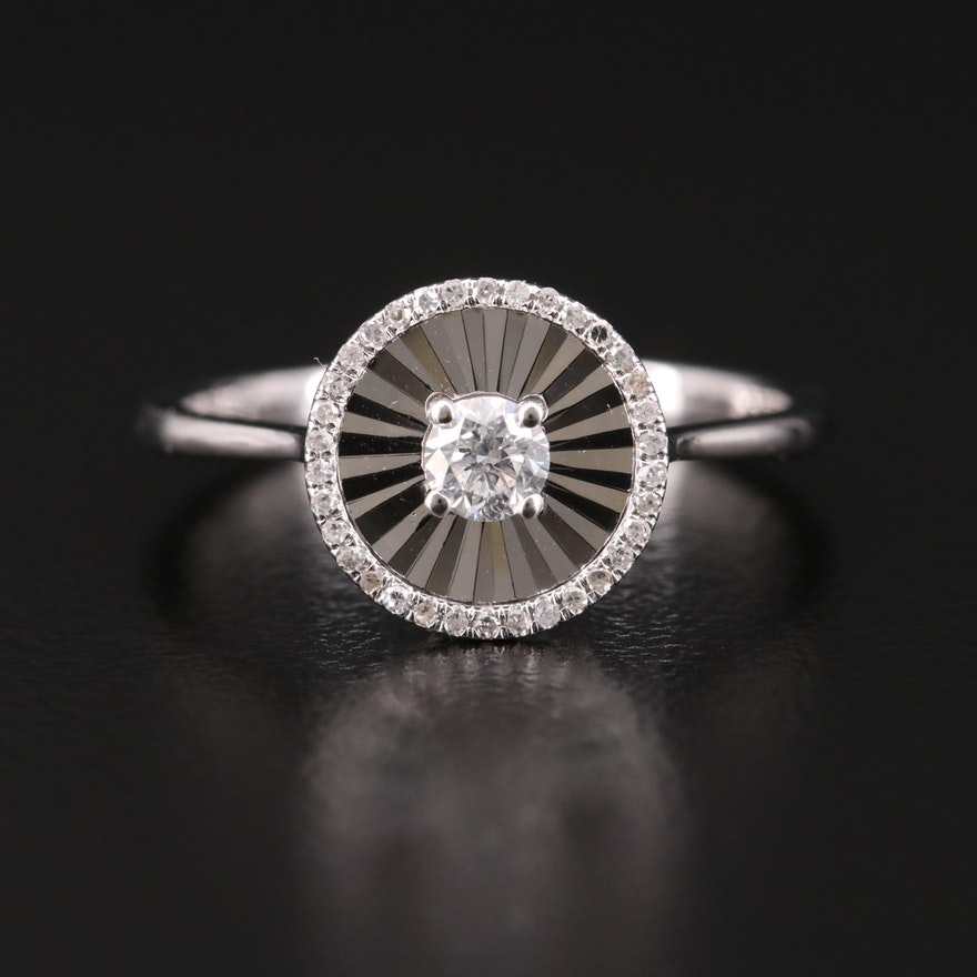 14K White Gold Diamond Ring with Fluted Halo