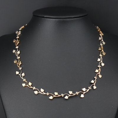 18K Gold Foliate Link Necklace