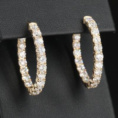 14K Yellow Gold 5.40 CTW Diamond Inside/Outside Hoop Earrings