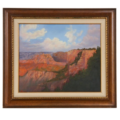 Canyon Landscape Oil Painting, 1989