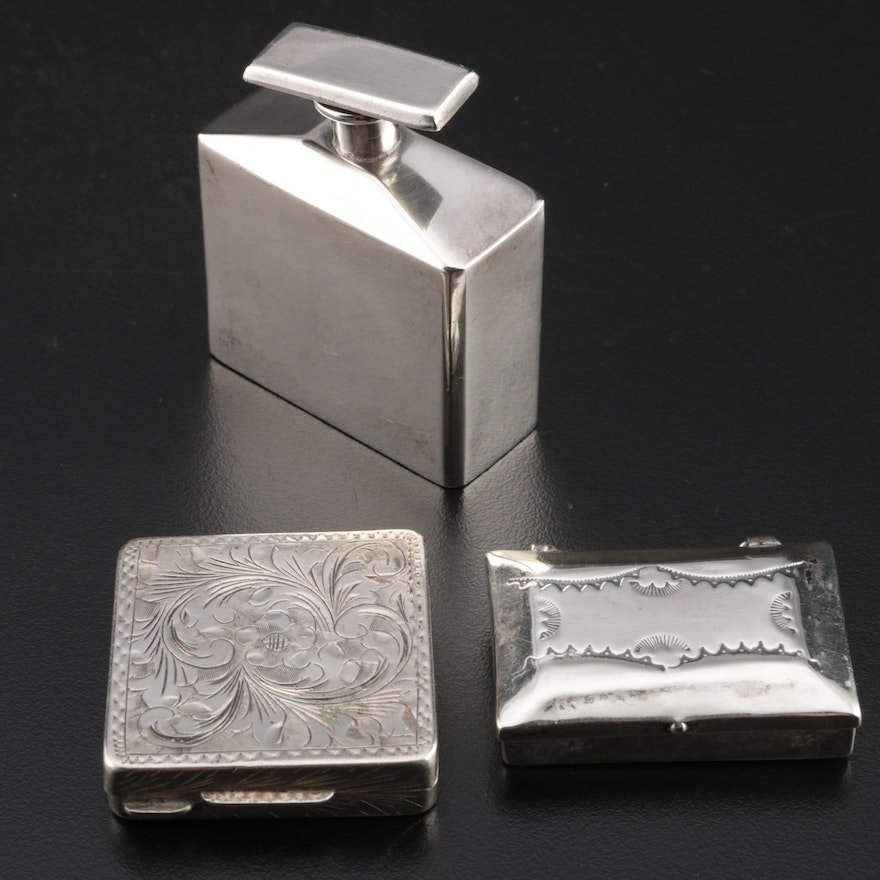 Sterling Silver Perfume Vial and Pill Box with 800 Silver Pill Box