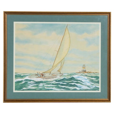J. Cummings Seascape with Sailboat Watercolor Painting, Late 20th Century