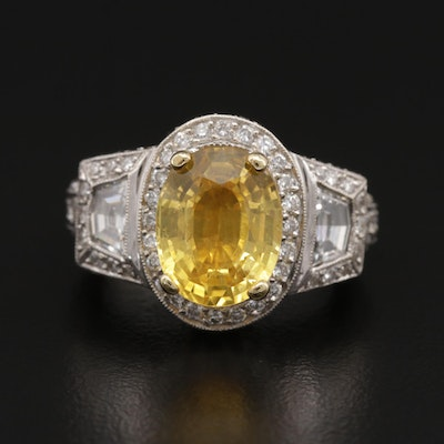18K 5.09 CT Yellow Sapphire and 2.72 Diamond Ring
