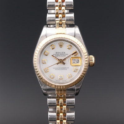 1990 Rolex Datejust Stainless Steel and 18K Gold Diamond Dial Wristwatch