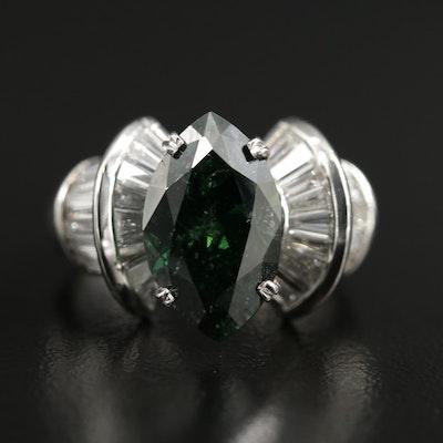 Platinum 5.80 CTW Diamond Ring with Green Diamond Center