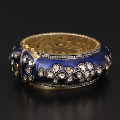 800 Silver Hinged Enamel and 2.70 CTW Diamond Hinged Bangle