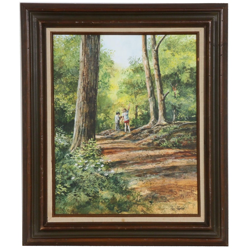 Paul Faris Forest Scene Oil Painting, Late 20th Century