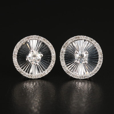 14K White Gold Diamond Earrings Featuring Faceted Motif