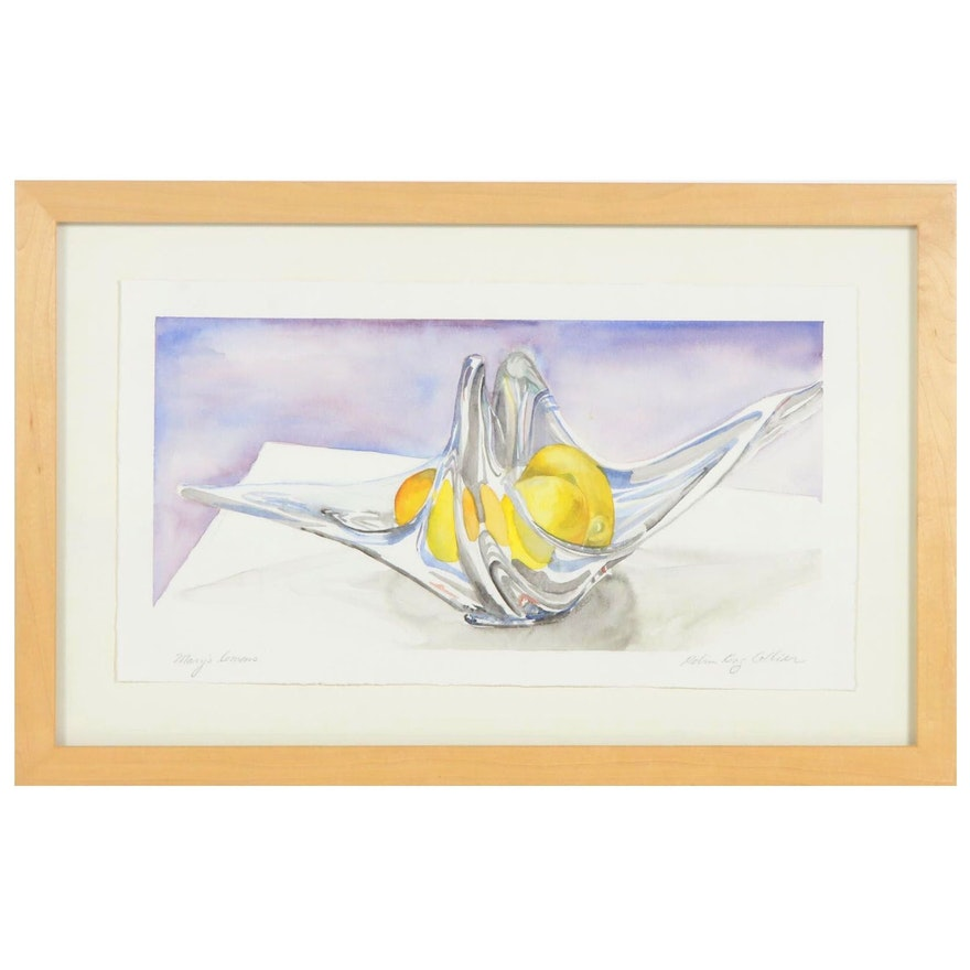 """Robin King Collier Watercolor Painting """"Mary's Lemons"""""""