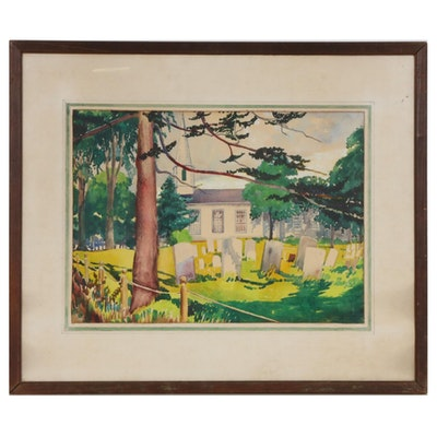 "Ralph Fanning Watercolor Painting ""Mattituck Presbyterian Church"", 20th Century"