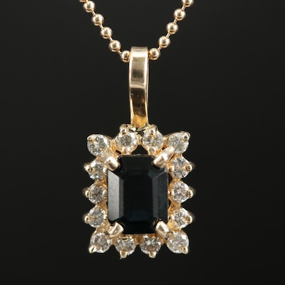 14K Yellow Gold Sapphire and Diamond Pendant on Bead Chain Necklace