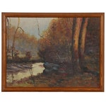 Emerson Burkhart Autumn Forest Landscape Oil Painting, Early to Mid 20th Century