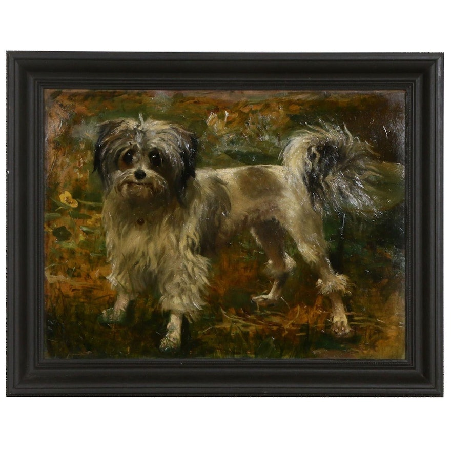 Oil Painting of Small Dog, Mid-Late 20th Century