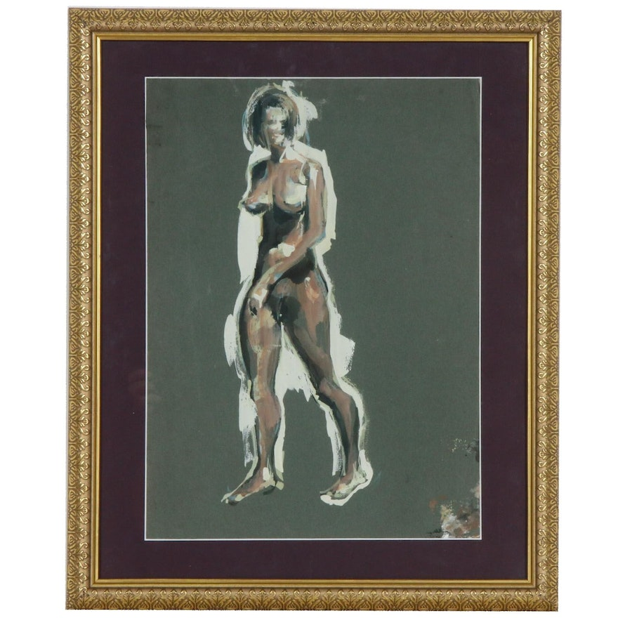 Female Nude Figural Gouache Painting