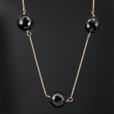 14K Yellow Gold Black Onyx Station Necklace
