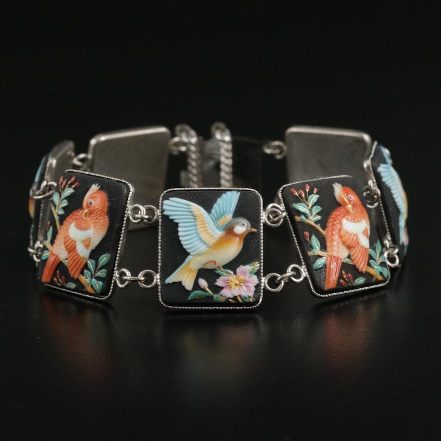 Toshikane Red and Blue Bird Theme Panel Bracelet
