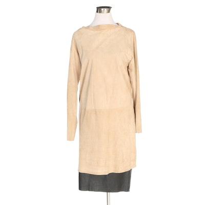 Ralph Lauren Brand Lambskin Skirt and Lamb Suede Dress