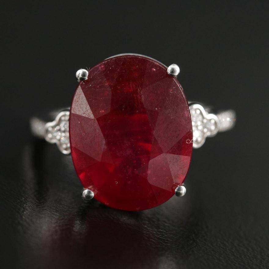 14K Gold Corundum and Diamond Ring