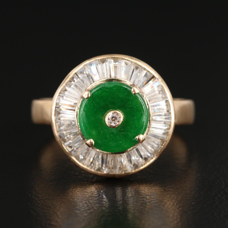 14K Yellow Gold Jadeite and Cubic Zirconia Ring