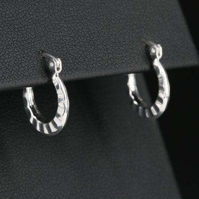 Mexican Sterling Silver Scalloped Hoop Earrings