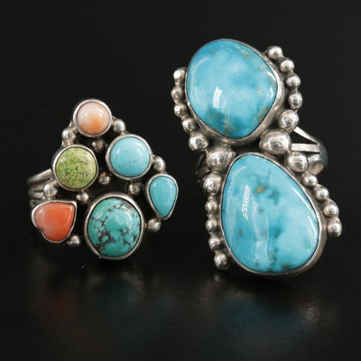 Southwestern Sterling Silver Turquoise and Coral Rings