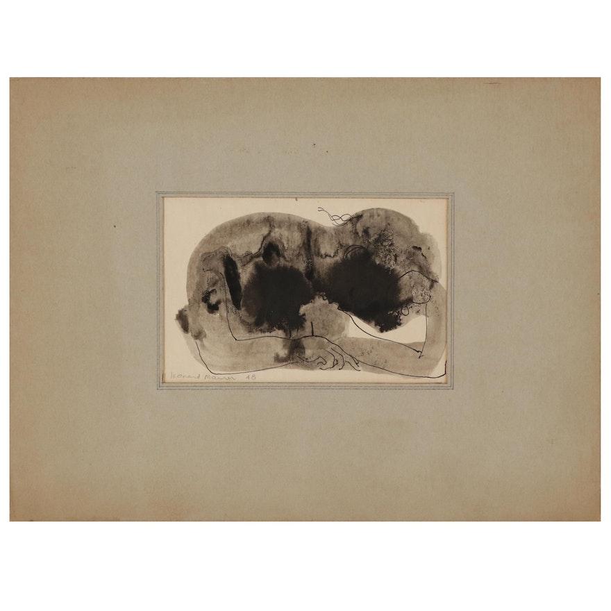 """Leonard Maurer Ink Wash Drawing """"Pensive"""", 1948"""