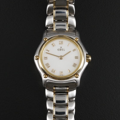 Ebel 1911 18K Gold and Stainless Steel Quartz Wristwatch with Mother of Pearl