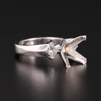 14K White Gold  and Platinum Diamond Semi-Mount with Arthritic Shank