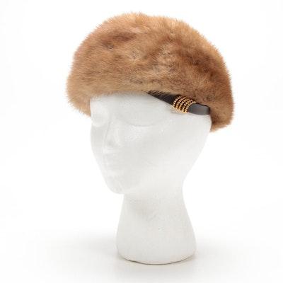 Miss Alice Mink Fur Caplet Hat, 1960s Vintage